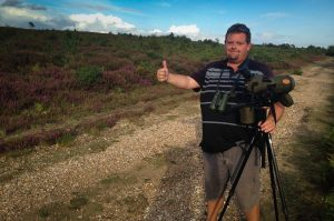 Chris gives the thumbs up after seeing his lifer Dartford Warbler at Ash Ranges, Surrey, UK. Aug 2014. Photo Rich Mooney.